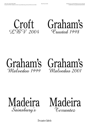Decanter labels