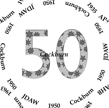 Glasses placemat: Cockburn 1950